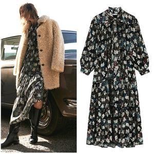 NWT ZARA | Metallic Thread Floral Printed Dress